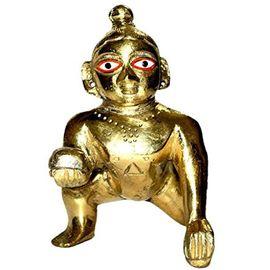 Brass Laddu Gopal Statue/ Golden Bal Gopal/ Thakur Ji