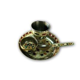 Laddu Gopal Dinner Set / Stainless Steel Meenakari Work Bhog Thali Set