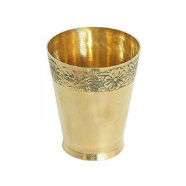 Brass Glass For Pooja / Bhog Glass / Flower Embossed Glass