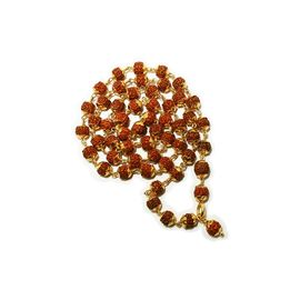 Rudrakasha Mala In Gold Caps Rudrakasha Bead Necklace