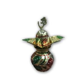 Brass Mangal Kalash With Om Symbol For Pooja With Nariyal