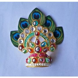 Morpankh And Diamond Stone Work Design Mukut / Mukut For Laddu Gopal