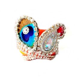Classic Daimond Work Pagri For Thakur Ji/ Beautiful Mor Pankh Pagri For Laddu Gopal