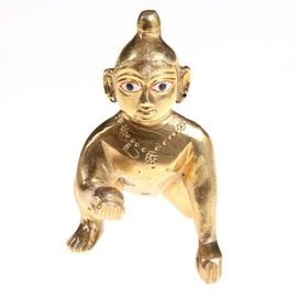Brass Laddu Gopal / Designer Bal Gopal Statue