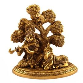 Krishna Cow Sitting With Tree / Brass Krishna Statue / Decorative Statue/ Beautiful Goddess Statue