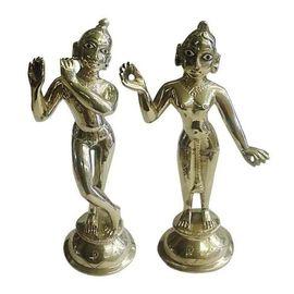 Radha Krishna Brass Statue / Lord Radha Krishna / Golden Idol
