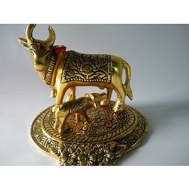 Brass Cow / Cow And Calf Statue / Golden Cow With Bell