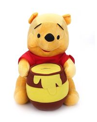 Disney Pooh with Pot Plush Sitting, Yellow/Red