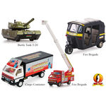 Min Toy Pull Back Combo Offer Pack Of 4 Cargo Container, Auto Big, Battle Tank T-20, & Fire Brigade