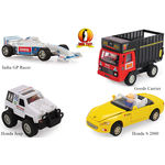 Shinsei Toys Pull Back Combo Offer Pack Of 4 Each 1 India GP Racer, Goods Carrier, Honda Jeep & Honda S 2000