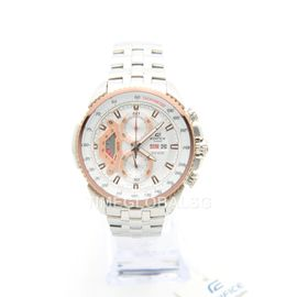100% Authentic Casio Edifice EF-558D-7AVDF ED438 Tachymeter Stainless Steel Analog Chronograph Mineral Glass Mens Watch