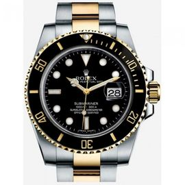 ROLEX STEEL AND YELLOW GOLD BLACK DIAL