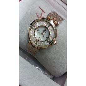 Imported Bridal wear Designer Swarovski Golden belt Gift watch Women Lady ladies White Dial