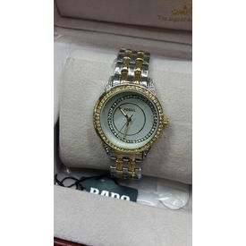 Imported Bridal wear Fossil Designer Golden belt Gift watch Women Lady ladies White Dial