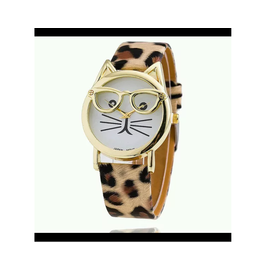 Women Watch Cat Frame Brown Kitty Strap Tiger Finish